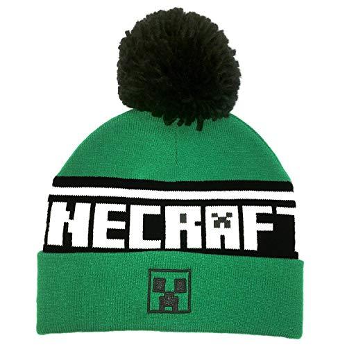 Minecraft Pom Beanie Boina, Green, One Size Unisex Adulto