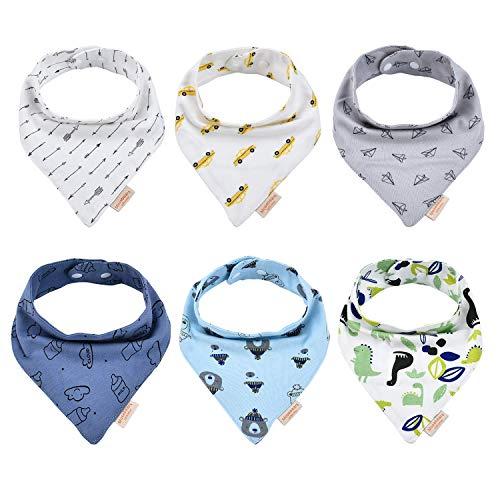 6 Stück Baby Dreieckstücher Lätzchen mit 2 Verstellbares Druckknopf,100% Bio-Baumwolle,Weiche & Absorbierende,für Kleinkinder Jungen und Mädchen