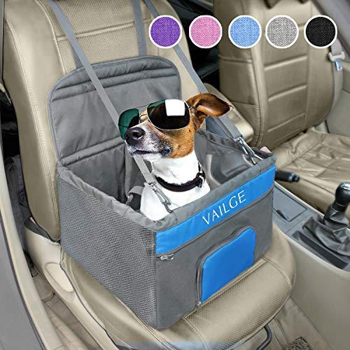 Vailge Hunde Autositz mit Sicherheitsgurt Hundesitz für Auto Kleine Hunde Mittlere Hundesitz Auto wasserdichte Faltbar Autositzbezug Hundekorb Auto (Grau)