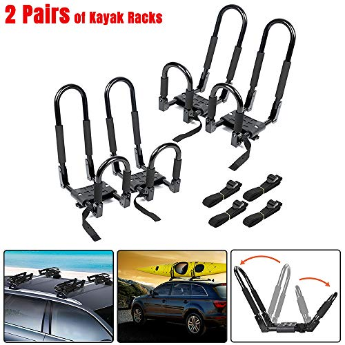 Ediors Upgraded 2 Pairs Folding Kayak Roof Rack, J Bar Foldable Kayak Rack,Sit On Top Kayak Carrier with 4 Tie Down Straps for Canoe Surfboard Ski Car Truck SUV RV On Roof Top Mount Trailer Crossbar