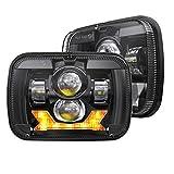 4X4FLSTC DOT Approved 5x7 Led Headlights with High Low Beam Daytime Turn Signal Compatible with Jeep Cherokee XJ Wrangler YJ Comanche MJ GMC Savana H6054 7x6 Inch Led Sealed Beam Headlamp Black