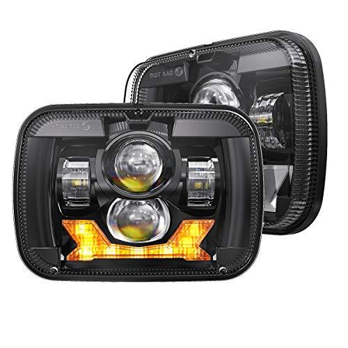 4X4FLSTC DOT Approved 5x7 Led Headlights with High Low Beam Daytime Turn Signal Compatible with Cherokee XJ Wrangler YJ Comanche MJ GMC Savana H6054 7x6 Inch Led Sealed Beam Headlamp Black