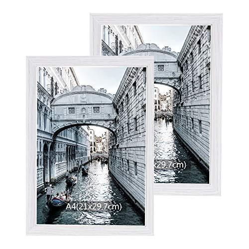 Metrekey Bilderrahmen din A4 (21x29,7cm) 2er Set Vintage Holz Zertifikat Rahmen Fotorahmen Portraitrahmen Weiß mit Acryl Glas mit Halterung und Haken für Tischplatte und Wanddekoration