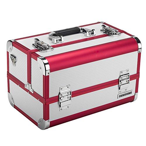 anndora Beauty Case 4 Fächer + Spiegel Schmuckkoffer Etagenkoffer Multifunktionskoffer ROT-Weiß