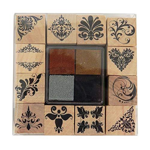 Craft Sensations Holz dekorative Stempel Set mit Farbe Stempelkissen, Henna Kunst