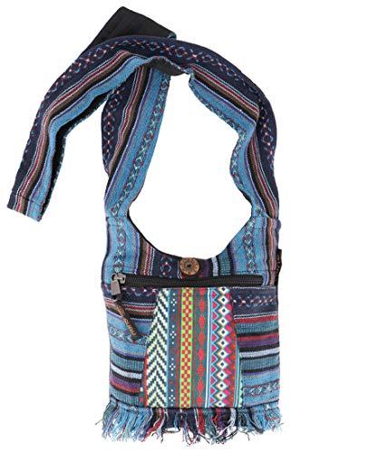 GURU SHOP Kleine Ethno Schultertasche, Hippie Tasche, Goa Tasche - Blau, Herren/Damen, Baumwolle, Size:One Size, 17x20 cm, Alternative Umhängetasche, Handtasche aus Stoff