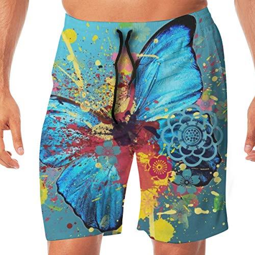 CVDGSAD Strand Regenboog Blad Takken Vlinder Heren Zwemshorts Sneldrogende Beach Board Shorts Zachte Relaxed Fit Trekkoord