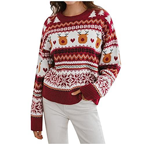 HolAngela Damen Weihnachtspullover Winter Langarm Rundhals Pullover Gestrickte Jumper Sweatshirt
