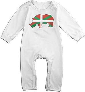 Flag of Basque Country Rhino Long Sleeve Baby Romper Jumpsuit Onsies Bodysuit