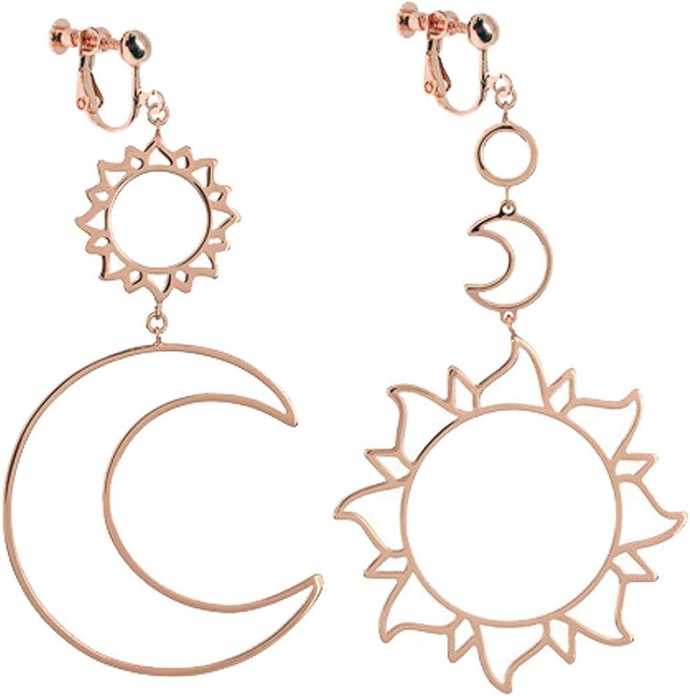 Sun Moon and Star Clip on Earrings for Women Girls Punk Crescent Stars Dangle Tassel Sunflower Meteor Drop Boho Exaggerated Geometric Statement