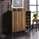 "Walker Edison Furniture Company Mid-Century Modern Wood Kitchen Buffet Sideboard Entryway Serving Storage Cabinet Doors Dining Room Console, 34"", Teak"