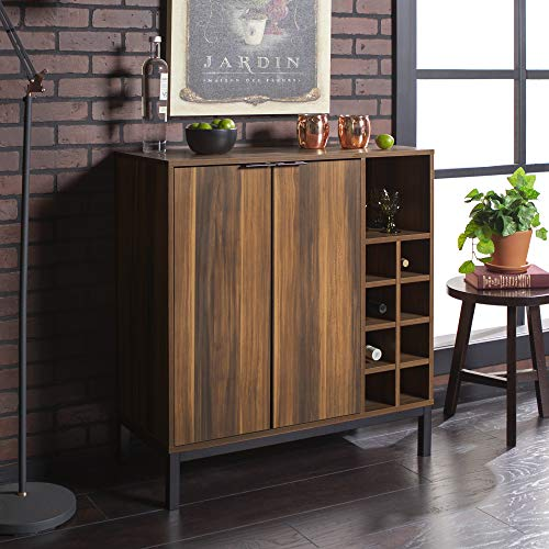 WE Furniture Bar Cabinet with Wine Storage in Teak - 34""