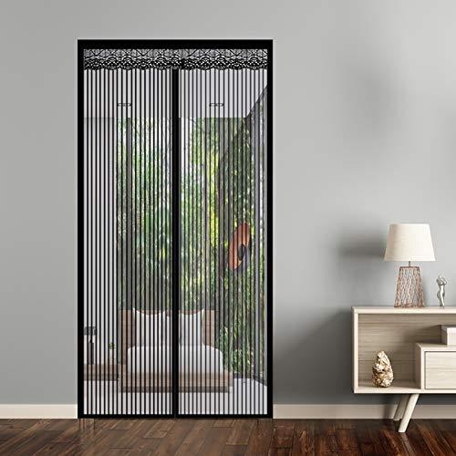 Mosquitera Puerta Magnetic 140x220cm Fácil de ensamblar Pasar El Aire Mantiene Insectos afuera Permite Entrada para Cortina de Sala de Estar la Puerta, Negro A