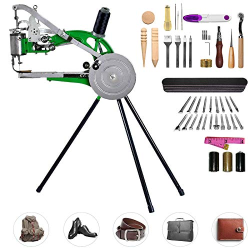 Pumplus Hand Machine Cobbler Shoe Repair Machine Dual Cotton Nylon Line Sewing Machine With 48Pcs Leather Sewing Tools