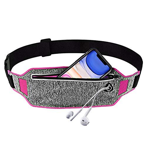 YiCTe Pochette de course Sac de ceinture à la taille, Pack d'entraînement Fanny avec trou pour casque, accessoires pour téléphone portable iPhone XS/XR/XS Max 7/8 Plus Galaxy,Rose gris clair