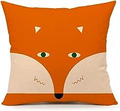 4TH Emotion Orange Abstract Cute Fox Design Home Decor Design Throw Pillow Cover Pillow Case 18 x 18 Inch Cotton Linen for Sofa