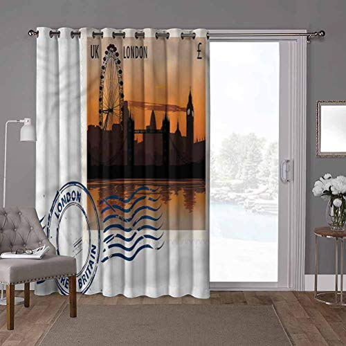 YUAZHOQI Super Heavy-Duty Thermal Sliding Glass Door Drape, London,UK Postcard Stamp Sketch, W100 x L84 Inch Privacy Blinds for Patio(1 Panel)