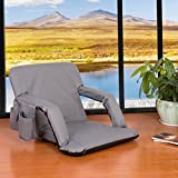 Sundale Outdoor Indoor Adjustable Floor Chair Five-Position Multiangle Stadium Seat Padded Recliner Gaming Chair with Back Support, Armrest and Two Pockets, Gray
