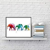 象の家族の肖像画壁アート絵画プリント水彩動物現代アートポスターとプリント保育園キッズポスター40x50cmフレームレス