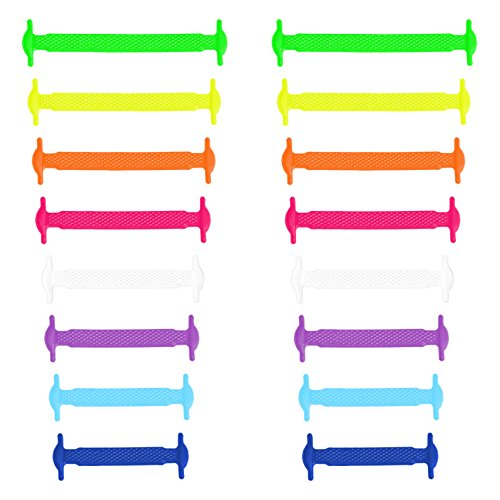 Xunits Elastische Silikon Schnürsenkel bunt, flach Schleifenlose Schuhbänder in 13 (neon) für Kinder & Erwachsene