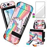Darrnew - Skin de unicornio rosa para Nintendo Switch, diseño de dibujos animados lindos y divertidos, diseño divertido y moderno + película de vidrio templado para Nintendo Switch