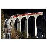 Lomoko Tren Puente ferroviario en Suiza Carteles Pintura en Lienzo Cuadro de Arte de Pared para decoración de Sala de Estar decoración del hogar impresión en Lienzo 50x70cm sin Marco
