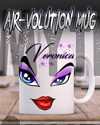 Mythic Airbrush Personalisierte Airbrush Bratz Augen und Lippen Keramik-Kaffeetasse Weiß
