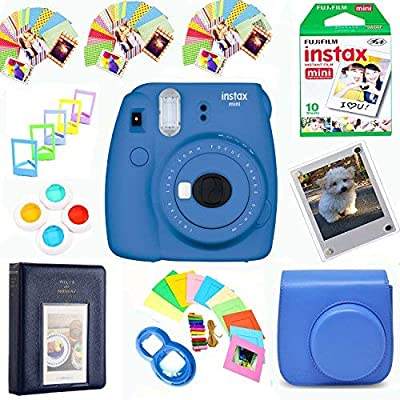 Fujifilm Instax Mini 9 Instant Film Camera + Instax Film + Photix Pleather Case + 64 Pocket Album+ Photix Self-Standing Frames + Stick-on Frames Exclusive Instax Design Bunde by FUJIFILM