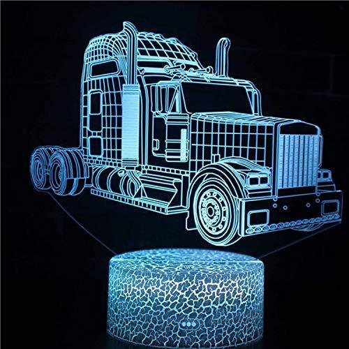 Coche deportivo de dibujos animados Speed F1 Truck Bus tractor vehículo 3d luz nocturna lámpara de mesa LED decoración del hogar juguete para niños regalo para niños