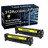2 cartuchos de tóner compatibles con Laserjet Pro MFP M476nw M476dn (amarillo) para cartucho de tóner HP CF382A 312A (alta capacidad)