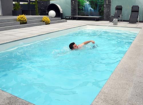 WelaSol Schwimmgurt Das Original | Pool Schwimmtrainer 3-TLG. inkl. Edelstahl Bodenhülse zur Befestigung | die günstigste Gegenschwimmanlage Aller Zeiten | Schwimmtraining im eigenen Pool