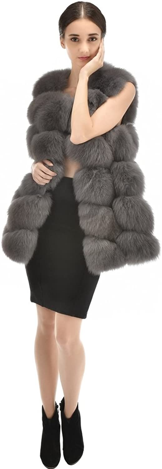 OLLEBOBO Women's Knitted Jacket without Sleeves without Collar Genuine Fox Fur