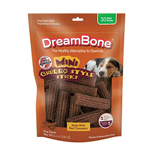 DreamBone Churro-Style Mini Sticks 30 Count, Made with Real Cinnamon, Rawhide-Free Chews for Dogs