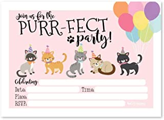 25 Cats Kids Birthday or Slumber Party Invitations, Baby Shower Invites, Kitty Sleepover Themed For Boys or Girls, Children or Toddler Bday Theme Printable Supplies, Printed or Fill In the Blank Cards