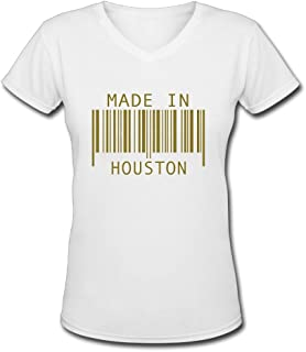 Womens Made in Houston Funny V-Neck T-Shirt