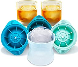 FutureConcept Ice Ball Maker Mold - Set of 3, Jumbo 2.5 Inch Perfect Size Round Ice Cube Mold. Whiskey lce Ball Mold, Scotch Ice Sphere and Non Alcoholic Drinks Silicone Ice Mold. Stackable Ice Mold.