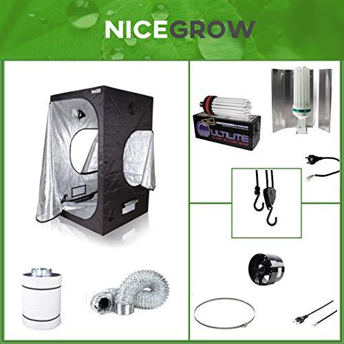 Nice Grow Growset Dark Box 100 ESL Cultilite 300W Blüte CFL-Pro Axial Flo Aktivkohlefilter
