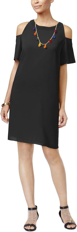 Thalia Sodi Womens Crepe Cold Shoulder Cocktail Dress