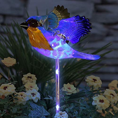 """Exhart Solar Windywing Blue Jay Garden Stake – Plastic Bird Inspired Garden Art Décor w/Solar Powered Blue LED Lights –UV-Treated & Hand Painted Stake for Lawn, Walkway & Yard Decor, 7"""" X 7"""" X 30.5"""""""