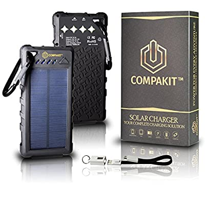 Solar Phone Charger by Compakit, Huge Capacity 16000 mAh Dual USB Power Bank, IP67 Waterproof with 4 LED Flashlight, Universal Compatibility Cell Phone Battery Pack, for Men & Women from R&M TEAM