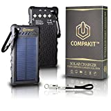 Solar Phone Charger by Compakit, Huge Capacity 16000 mAh Dual USB Power Bank, IP67 Waterproof with 4 LED Flashlight, Universal Compatibility Cell Phone Battery Pack, for Men & Women