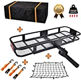 USSerenaY Hitch Mount Cargo Carrier - Hitch Cargo Carrier with Net, Waterproof Cargo Bag and 2 Reinforced Straps - Folding Car Basket Tralier Luggage Hitch Carrier L60 X W20 X H6, 550lbs