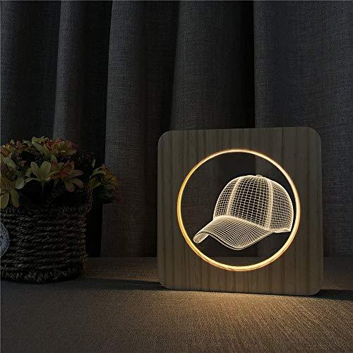 Baseball Cap Sport Acryl Holz Nachtlicht Tisch Lichtschalter Steuerung Gravur Licht Kinderzimmer Dekoration Geschenk