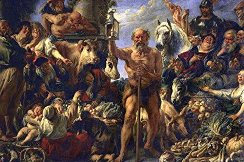 Kunst für Alle Impresión artística/Póster: Jacob Jordaens Diogenes with The Lamp Seeking Men in The Markets - Impresión, Foto, póster artístico, 85x55 cm