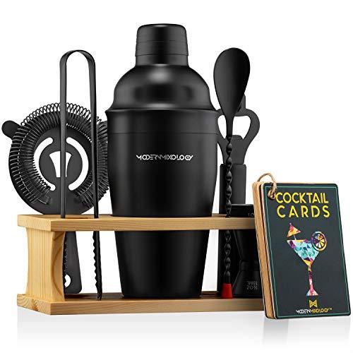 Mixology Bartender Kit with Stand | Black Bar Set Cocktail Shaker Set for Drink Mixing - Bar Tools: Martini Shaker, Jigger, Strainer, Bar Mixer Spoon, Tongs, Opener | Best Bartender Kit for Beginners