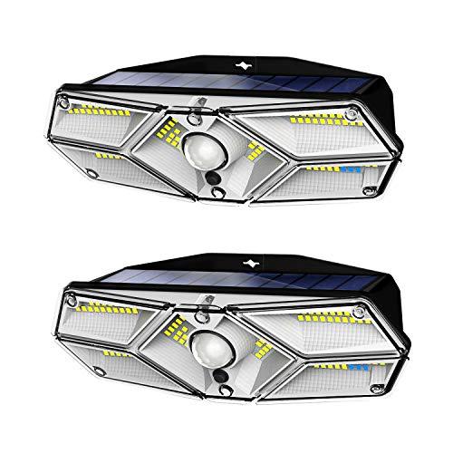 NESMOVA 2020最新版 センサーライト ソーラーライト 人感センサー 太陽光発電 導光板付き 屋外 高輝度 104LED 防水 災害用 自動点灯 省エネ 庭 玄関 駐車場 壁掛け 防犯ライト ガーデンライト 日本語説明書付き 2個セット