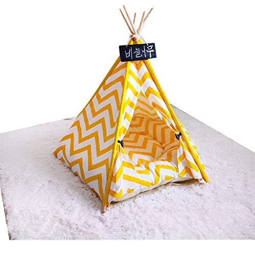 Kuschelhöhle Haustier-Zelt aus Holz Hundehaus-Haustier-Bett-Katze-Bett Yurt Waschbar Kennel Katzentoilette Kleinen (Size : L)