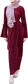 Abetteric Women Ruffle Sleeve Solid Color Tunic Fit Muslim Eid Abaya Dress