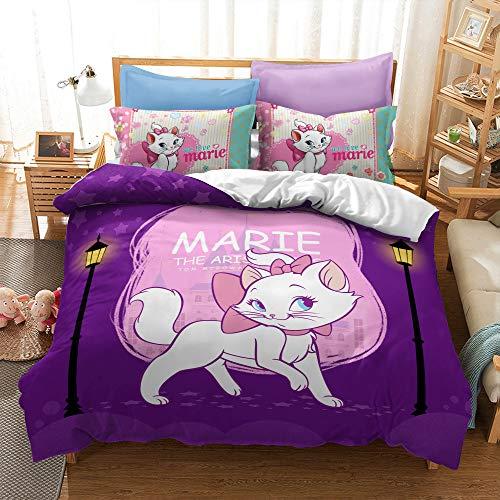 Disney Marie Cat Duvet Cover Set - Duvet Cover and 1/2 Pillow Cases Microfibre 3D Digital Print 2/3-Piece Bedding Set (Marie11,Single)