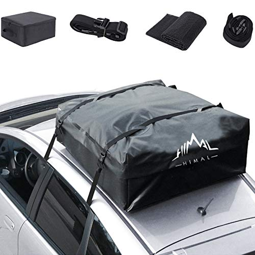 Himal Car Rooftop Cargo Carrier,15 Cubic Feet Heavy Duty Waterproof Vehicle Soft-Shell Rooftop Bag with 8 Straps and 2 Zippers, Fits All Vehicles with Or Without Racks